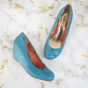 Seychelles Aqua Blue Leather Slip On Wedge Heels
